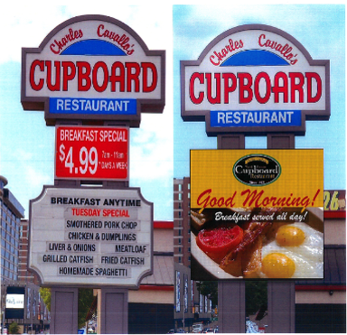 The Cupboard restaurant sign